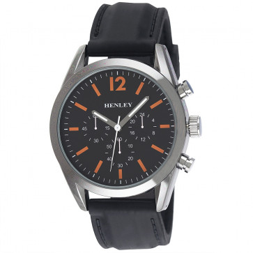 Contemporary Sports Silicone Watch - Black / Orange Highlights
