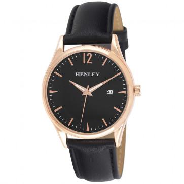 Minimal Calendar Watch - Black / Rose Gold