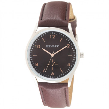 Contemporary Sub-Dial Watch - Brown / Silver / Rose Gold Highlights