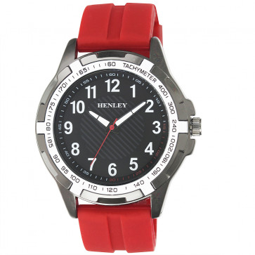 White Trim Sports Watch - Red