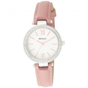 Stone Set T-Bar Watch - Pink