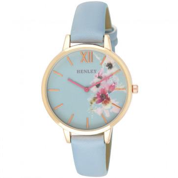 Pink Floral Watch - Blue