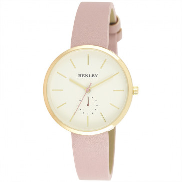 Minimal Gold Tone Watch - Pink