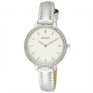 Contemporary Diamante Watch - Metallic Silver