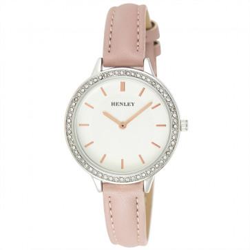 Contemporary Diamante Watch - Pink