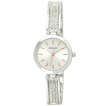 Stone-Encrusted Bangle Watch - Silver Tone / Rose Gold Highlights