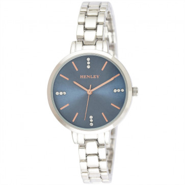 Stone Set Face Bracelet Watch - Silver / Blue / Rose Gold Highlights