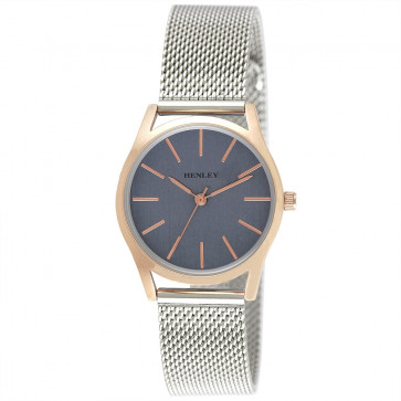 Two Tone Mesh Bracelet Watch - Silver / Rose Gold / Navy Blue