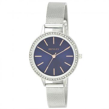 Stone Set Mesh Bracelet Watch - Silver / Blue / Rose Gold Highlights