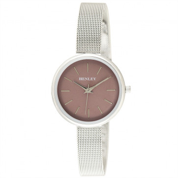 Metallic Top Loader Mesh Watch - Silver / Metallic Pink