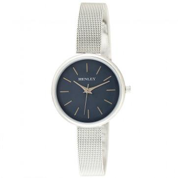 Metallic Top Loader Mesh Watch - Silver / Metallic Blue