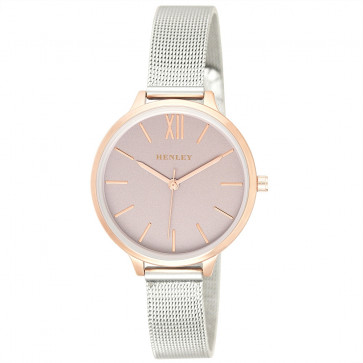 Two-Tone Mesh Bracelet Watch - Metallic Pink