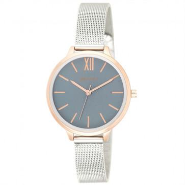 Two-Tone Mesh Bracelet Watch - Metallic Blue