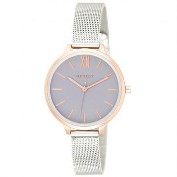 Two-Tone Mesh Bracelet Watch - Metallic Purple