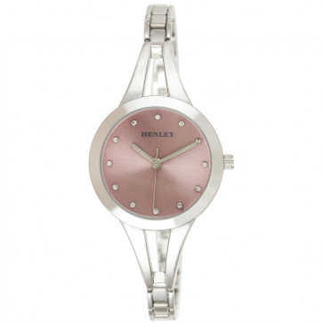 Classic Half Bangle Watch - Silver Tone / Pink