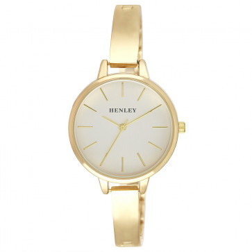 Modern Index Half Bangle Watch - Gold Tone
