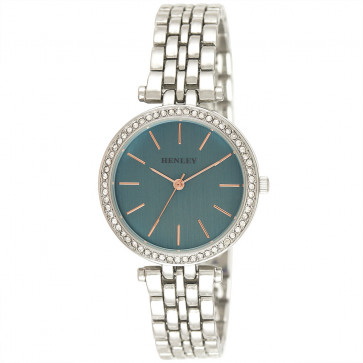 Rose Highlighted Diamante Watch - Blue