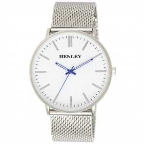 Minimal Mesh Watch - Silver Tone / Blue Highlights