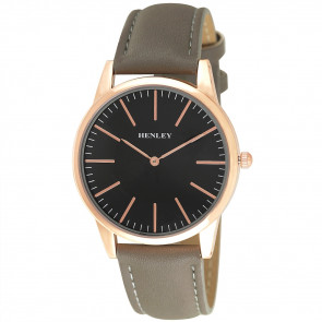 Slim Curved Lens Watch - Stone / Rose Gold Tone / Black