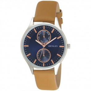 Slimline Double Mini-Dial Watch - Tan / Blue / Rose Gold Highlights