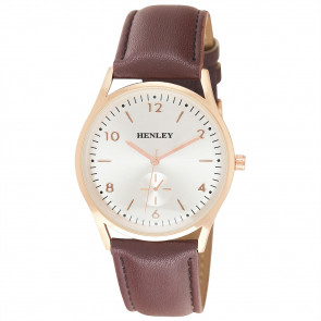 Contemporary Sub-Dial Watch - Brown / Rose Gold / Silver