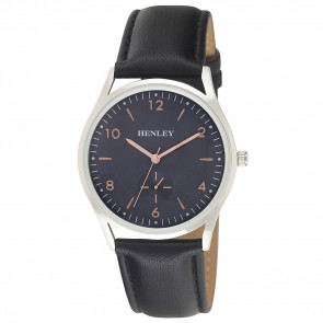 Contemporary Sub-Dial Watch - Back / Silver / Blue / Rose Gold Highlights