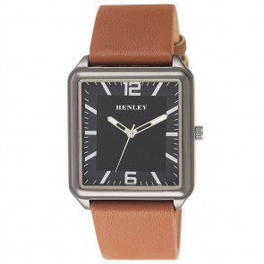 Modern Rectangular Watch - Black / Black / Brown
