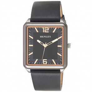 Modern Rectangular Watch - Black / Rose Gold Highjlights