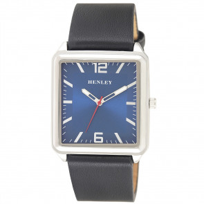 Modern Rectangular Watch - Black / Silver / Blue