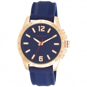 Lazer Cut Bezel Watch - Rose old Tone / Blue