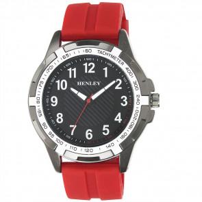 White Trim Sports Watch - Red