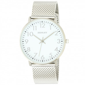 Contemporary Numbered Mesh Watch - Silver Tone