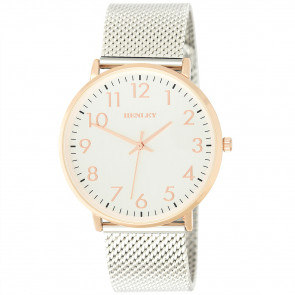 Contemporary Numbered Mesh Watch - Rose Gold Tone