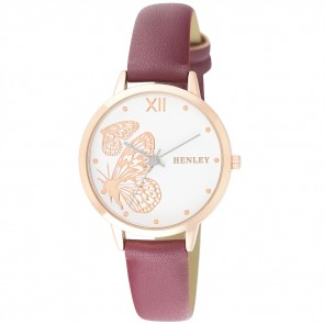 Filigree Butterfly Watch - Coral