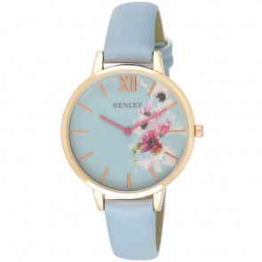 Pink Floral Watch - Blue