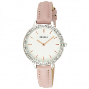 Contemporary Diamante Watch - Pink