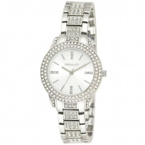 Stone-Encrusted Bracelet Watch - Silver Tone