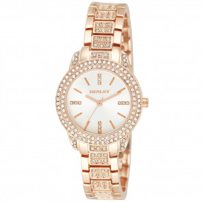 Stone-Encrusted Bracelet Watch - Rose Gold Tone
