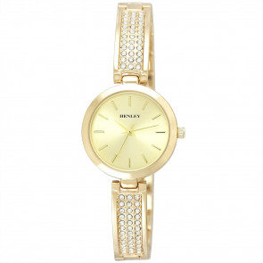 Stone-Encrusted Bangle Watch - Gold Tone