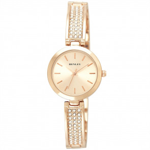 Stone-Encrusted Bangle Watch - Rose Gold Tone