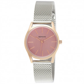 Two Tone Mesh Bracelet Watch - Silver / Rose Gold / Pink