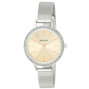 Stone Set Mesh Bracelet Watch - Silver / Rose Gold