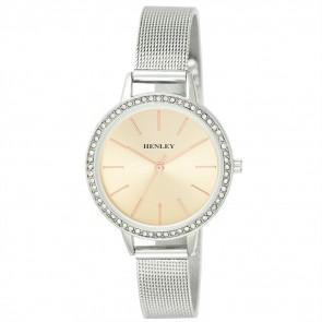 Stone Set Mesh Bracelet Watch - Silver / Rose Gold