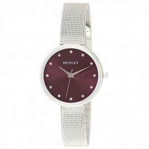 Slim Mesh Bracelet Watch - Silver / Coral