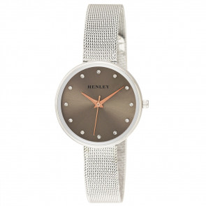 Slim Mesh Bracelet Watch - Silver / Warm Grey / Rose Gold Highlights