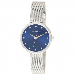 Slim Mesh Bracelet Watch - Silver / Blue