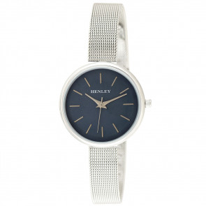 Metallic Top Loader Mesh Watch - Silver / Metallic Blue