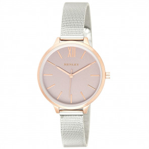Two-Tone Mesh Bracelet Watch - Metallic Pink