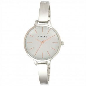 Modern Index Half Bangle Watch - Silver Tone