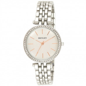 Rose Highlighted Diamante Watch - Silver Tone